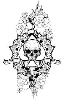Тату череп и цветок
