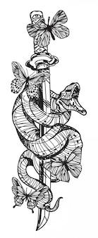 タトゥーヘビと蝶