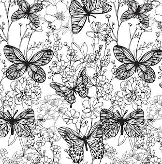 ラインアートとのシームレスなパターンの蝶と花のスケッチ