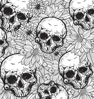 ラインアートと頭蓋骨と花の手スケッチ