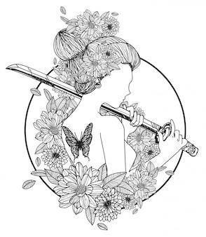 タトゥーアートの女性は刀の手描きを保持し、黒と白のスケッチ