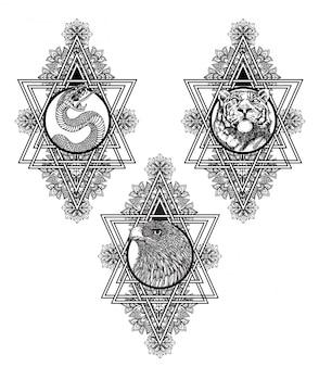 タトゥーアートスネークタイガーとイーグルの手描きのスケッチ白黒