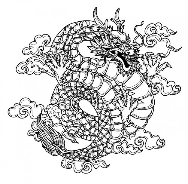 タトゥーアートダーゴン手描きと黒と白のスケッチ