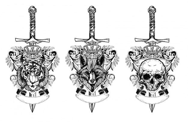 タトゥーアートタイガーオオカミの頭蓋骨の描画とラインアートイラストと白黒スケッチ