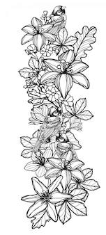 タトゥー鳥と花の手描きのスケッチ