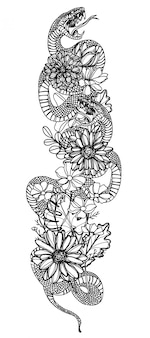 タトゥーアートスネークと花の描画と黒と白のスケッチ