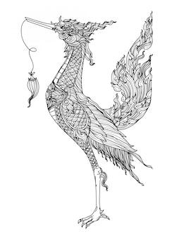 タトゥーアートタイ鳥パターン文学手描きのスケッチ