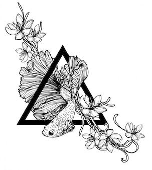 タトゥーアートシャムの戦いの魚の手描きと黒と白のスケッチ