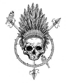 頭の手描きのタトゥーアートスカルフェザー