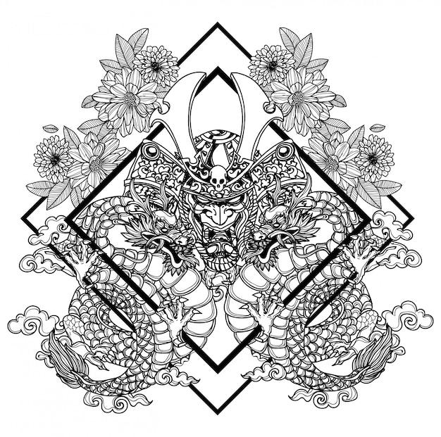 タトゥーアート戦士ダーゴン手描きと黒と白のスケッチ