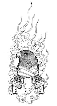 銃の手描きのタトゥーアートワシ