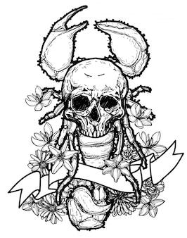 タトゥーアートスカルとサソリの手描きとスケッチ