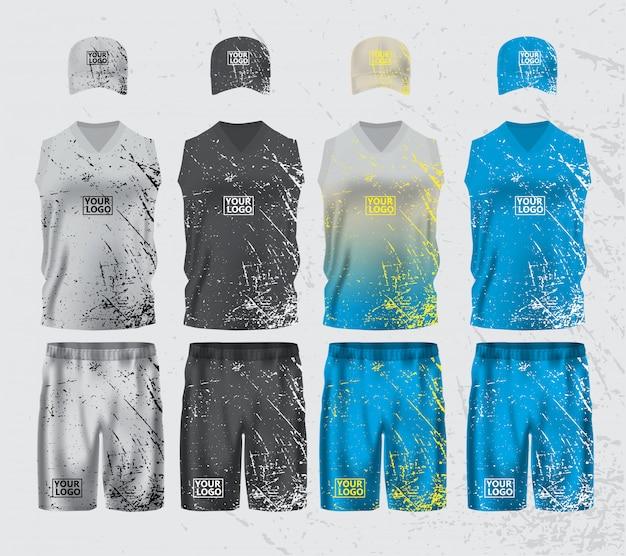 Спортивная одежда набор макет шаблона макета
