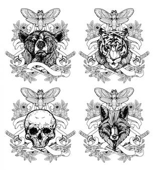 アート動物の描画をタトゥーし、白い背景で隔離のラインアートイラストと黒と白をスケッチします。