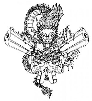 タトゥーアートダーゴンと銃の手描きと黒と白のスケッチ