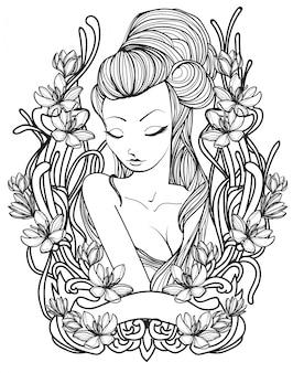 タトゥーの女性と花の手描きのスケッチ黒と白