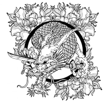 タトゥーアートダーロン手描きの黒と白