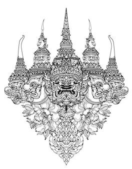 タトゥーアートタイのヘビと巨大なパターン文学手描きのスケッチ
