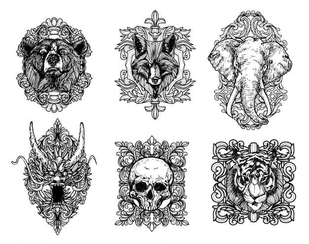 タトゥーアートタイガードラゴンオオカミ象