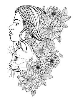 タトゥーの女性と猫の手描きのスケッチ白黒