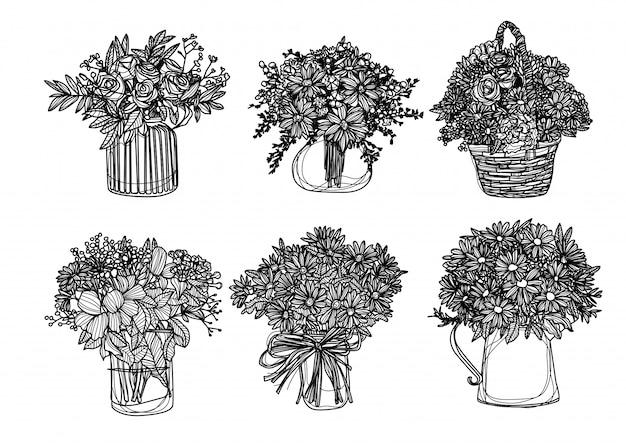 Цветы ручной рисунок и эскиз черно-белые