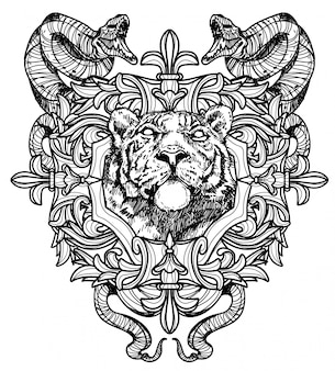 タトゥーアートライオン手描きの黒と白