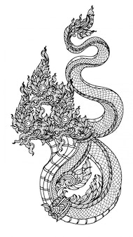 タトゥーアートタイヘビパターン文学手描きのスケッチ