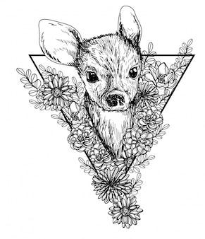 Олень и цветы эскиз монохромной головы черно-белые