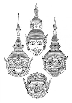 タトゥーアートの巨大なタイの手描きと黒と白のスケッチ