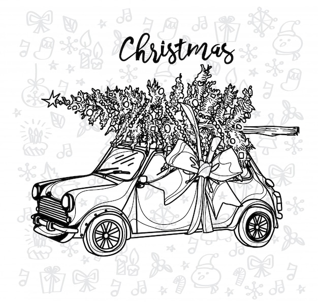 クリスマスツリーとクリスマス車ビンテージスケッチ