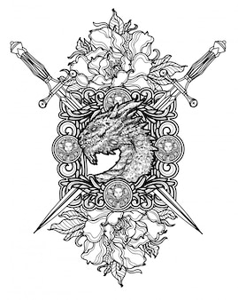 タトゥーアートダーゴンと剣の手描きの黒と白