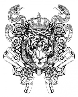 タトゥーアートライオンと銃の手描きの黒と白