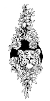 花の手描きの黒と白のタトゥーアートライオン