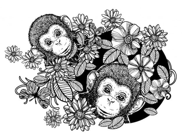 自然手描きの猿の花と蝶のスケッチ