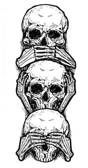 タトゥーアートスケッチスカル、耳を閉じ、目を閉じて、口を閉じて黒と白