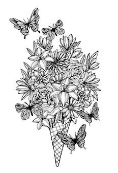 Цветы в вафельном рожке мороженого рука рисунок черный и белый