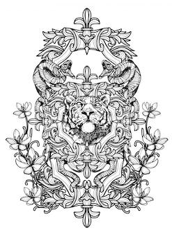 タトゥーアート虎手描きの黒と白