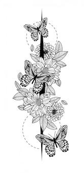 タトゥーアートバタフライスケッチ黒と白