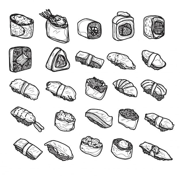 Еда японии набор руки рисунок и эскиз черно-белый