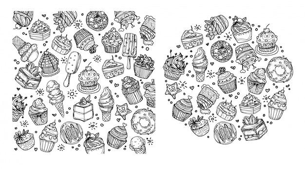 ベーカリーコーヒーとジュースセット手描きとスケッチ