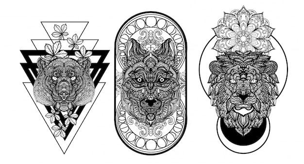 タトゥーアートのクマ、オオカミ、ライオンの手描きと黒と白のスケッチ