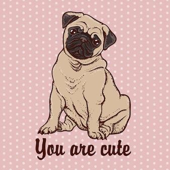 Симпатичная собака-мопс