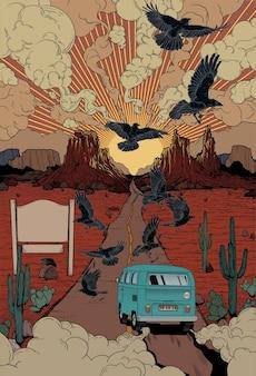 Пустыня автомобиль иллюстрации