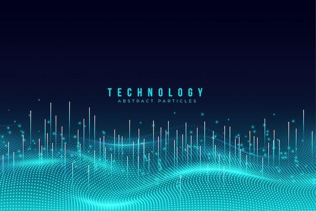 Абстрактный синий фон технологии частиц