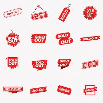 売り切れたバナー、ラベル、切手、サインのコレクション