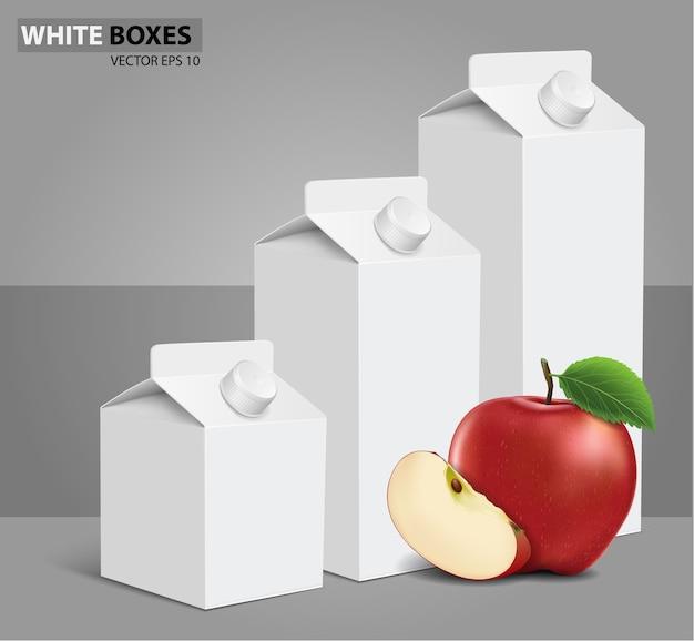 Сок молока пустой белый коробки коробки с яблоком. векторные иллюстрации