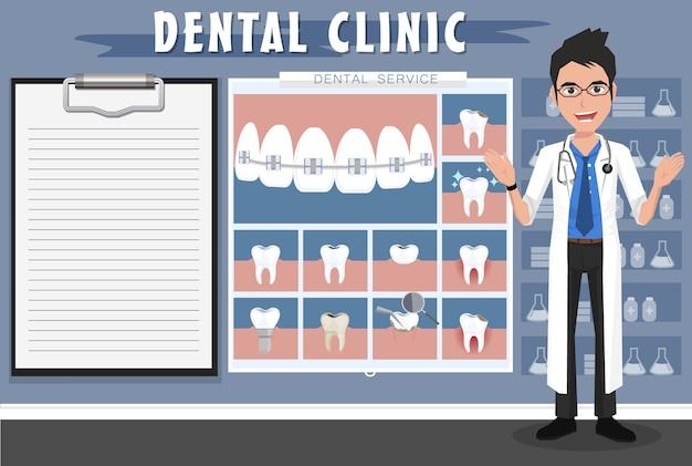 Врач, стоящий в стоматологическом кабинете. подготовка к стоматологическому экзамену.
