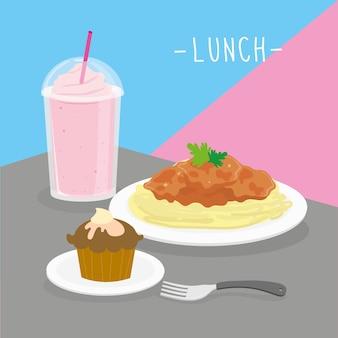 食べ物食事昼食乳製品は、飲み物メニューレストランベクトルを食べる
