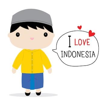 インドネシアメンズナショナルドレス漫画ベクトル