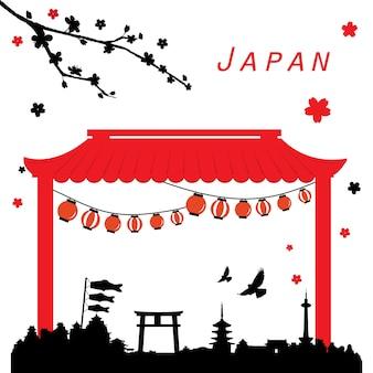 日本旅行の黒と赤のベクトルを表示